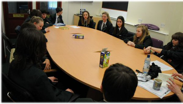 A Co-operative Crew meeting at Golborne High School