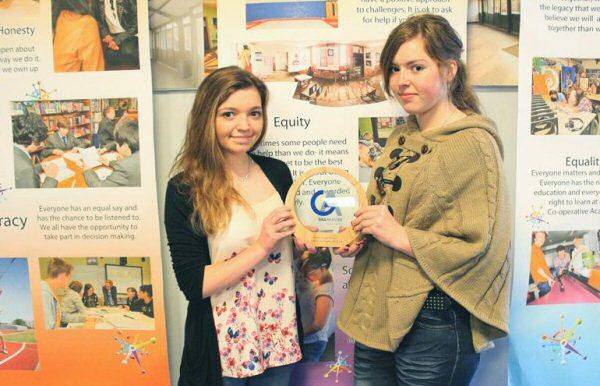 Young Enterprise students with Gill Akaster Award for Social Responsibility