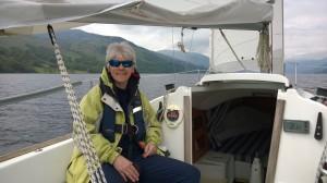 Jacqui in boat