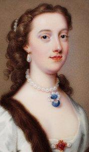 """Margaret Cavendish Bentinck, Duchess of Portland"", Also know as Margaret Harley, Oil on canvas portrait, painted by Christian Friedrich Zincke, 1738."